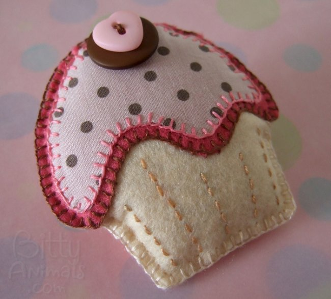 Cupcake in feltro e stoffa Tutorial e Cartamodello