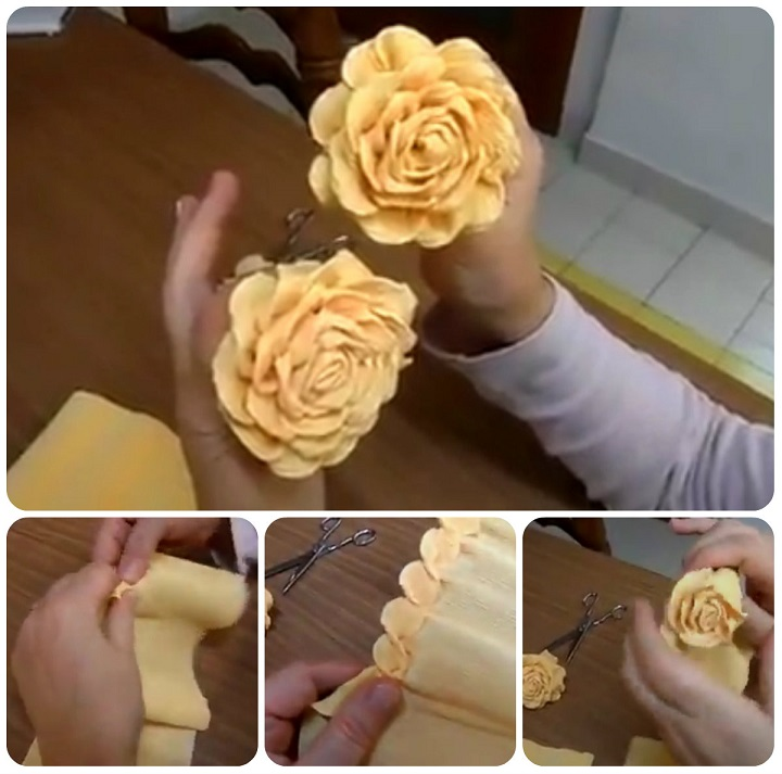 come fare rose in carta crespa tutorial