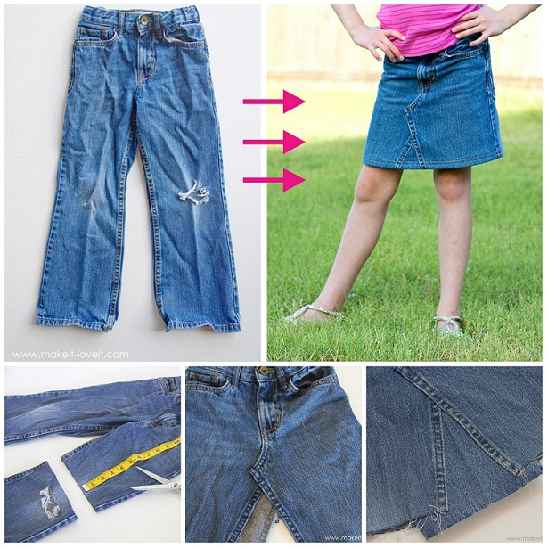 trasformare jeans in gonna tutorial
