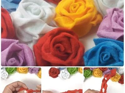 Rose in pannolenci attorcigliate – Tutorial