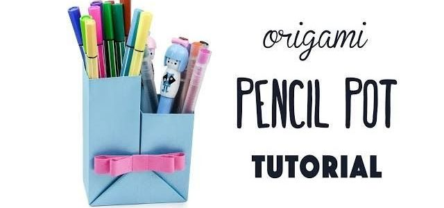 Porta penne in carta con tecnica origami – Video tutorial con spiegazioni.