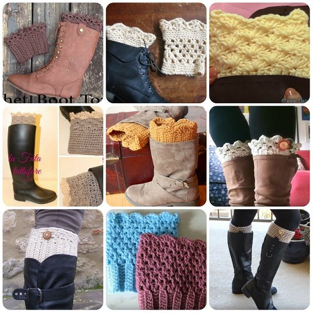 decorazioni stivali boot cuffs uncinetto schemi tutorial