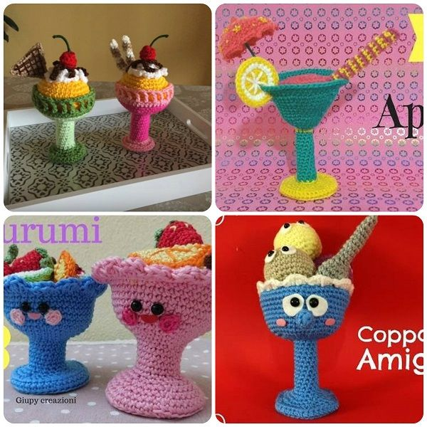schemi amigurumi coppa gelato macedonia aperitivo video tutorial