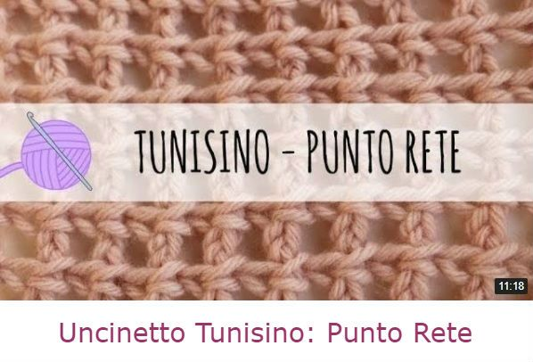 punto rete con uncinetto tunisino video tutorial italiano