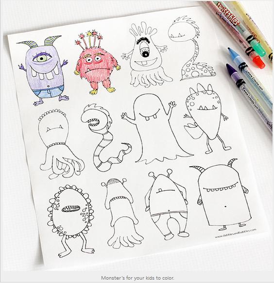 Disegni da colorare per bambini con mostri pagina da - Pagina da colorare per chitarra ...