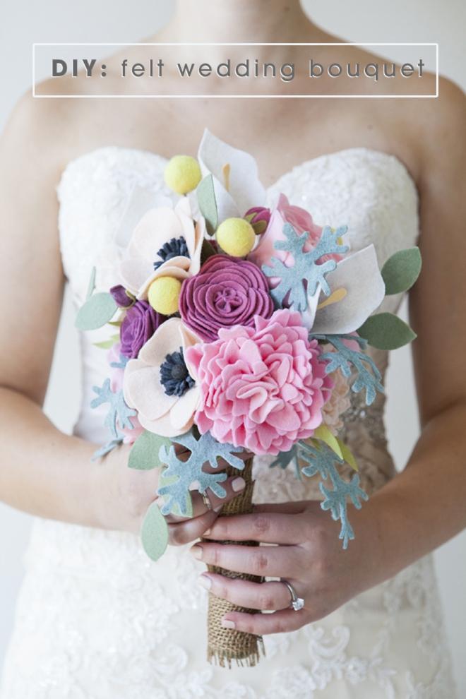 come fare bouqeut da sposa con fiori in feltro