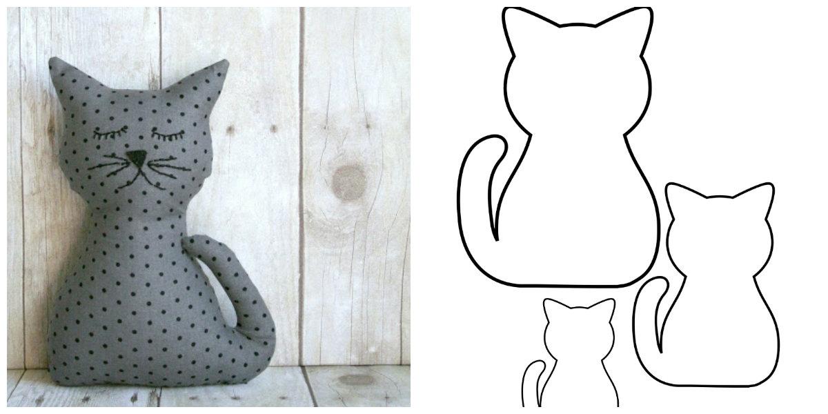 Cartamodello gatto imbottito in stoffa for Tutorial fermaporta di stoffa