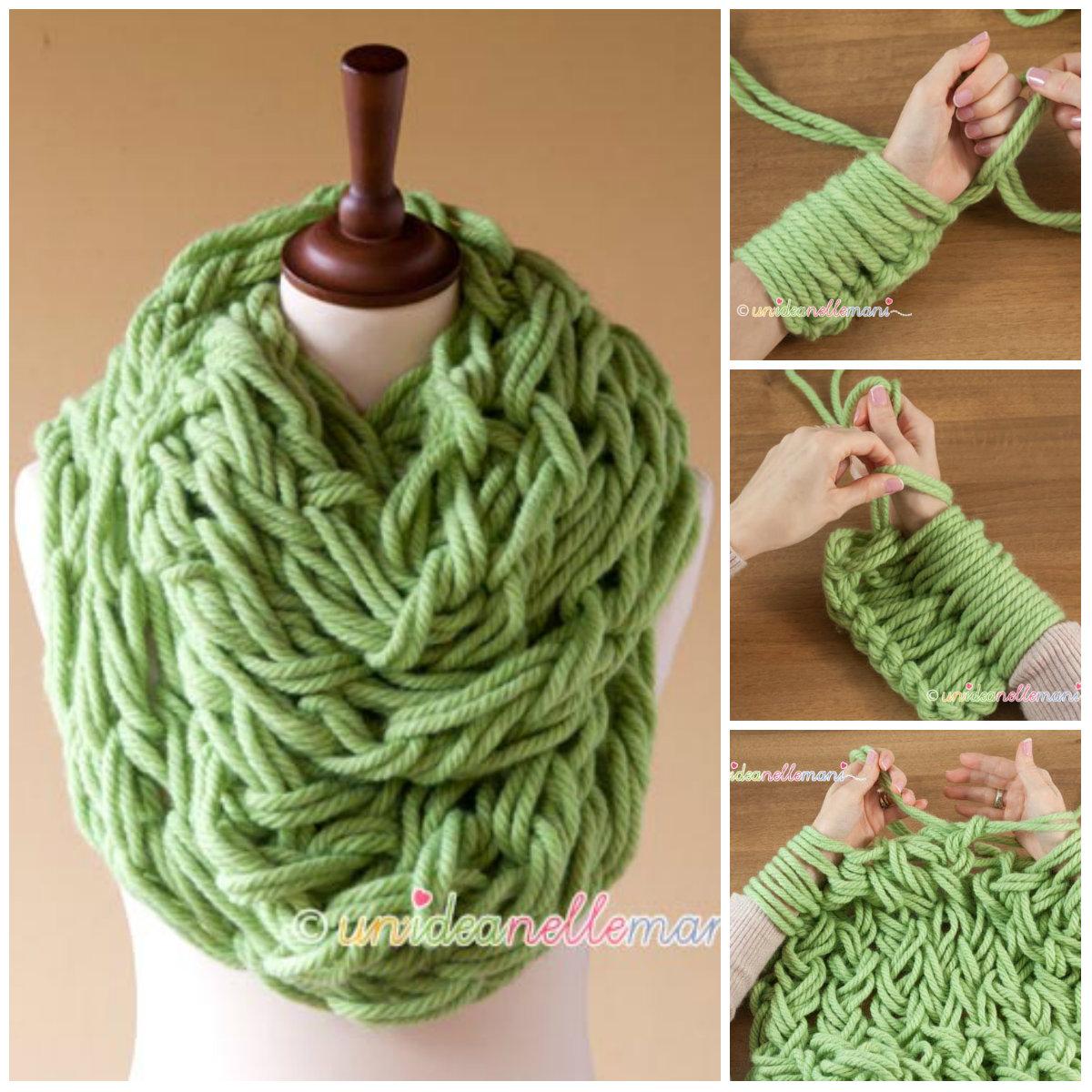 Come fare sciarpa con passante a maglia - Istruzioni in Italiano. 282e60431639