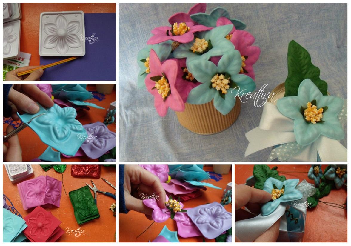 Bomboniere con fiori in gomma crepla tutorial for Fiori con la e