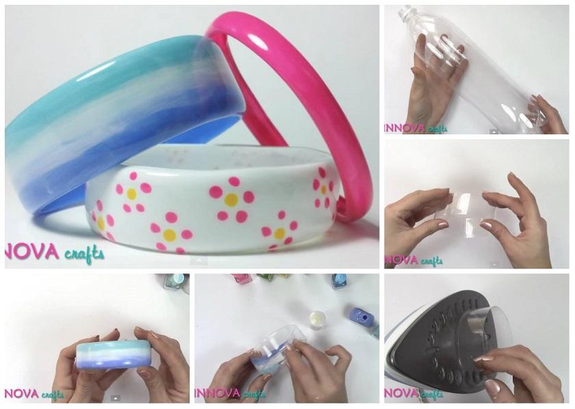 Bracciali con bottiglie di plastica tutorial for Immagini con i brillantini