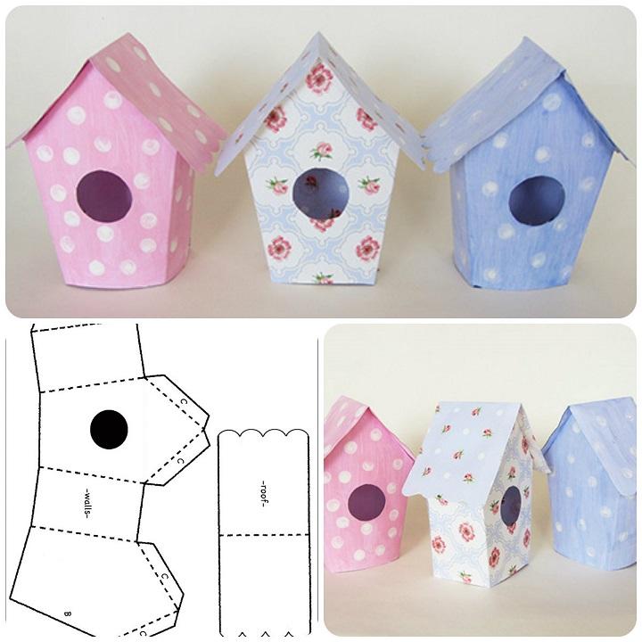 Come fare casetta per uccellini in carta template da - Modelli di coniglietto pasquale gratis ...
