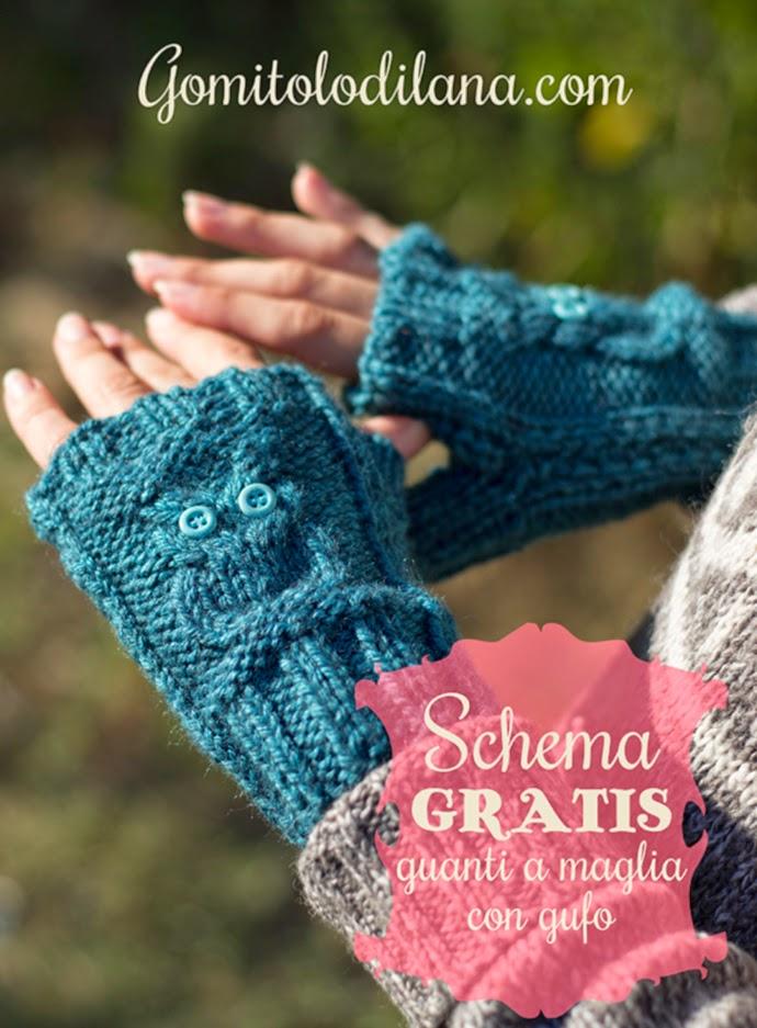 Come fare un paio di guanti con gufetto a maglia. Sono carinissimi e una  bella idea per un regalo di natale handmade. Lo schema gratuito in italiano  e in ... f4bef1c29160