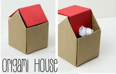 Mini cestino a forma di casetta con la tecnica origami for Cose per la casa fai da te