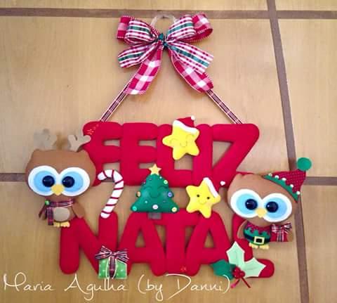 Fuori porta natalizio con gufetti in pannolenci – Cartamodello. 296f8d536a15