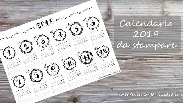 Calendario Annuale Da Stampare 2019.Calendario Annuale Da Stampare Creativita Organizzata