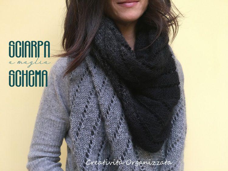 sciarpa a maglia traforata motivo trasversale schema