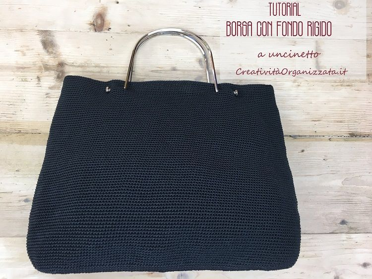 borsa uncinetto con fondo rigido ovale in cordino tutorial