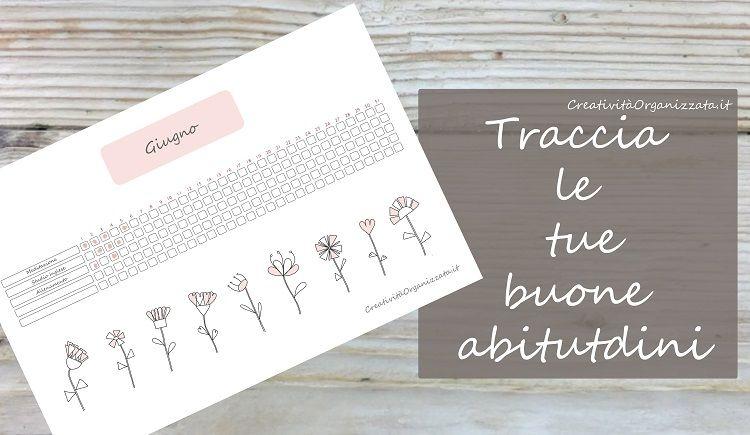habit traker stampabile fiorellini stilizzati