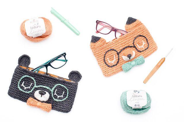 custodia occhiali a uncinetto schema con orsetto e volpe