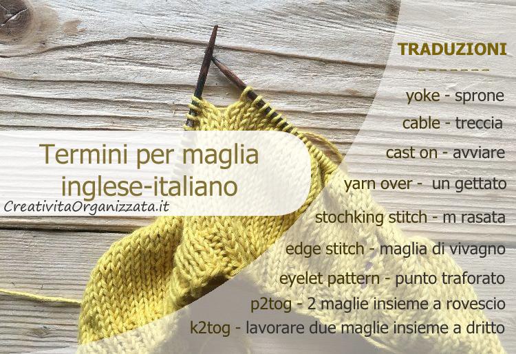 tradurre termini inglesi per la maglia